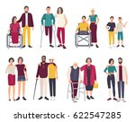 happy disabled people with... | Shutterstock .eps vector #622547285