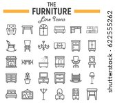 furniture line icon set ... | Shutterstock .eps vector #622555262