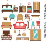 home furniture and room... | Shutterstock .eps vector #622556786