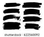 set of black paint  ink brush... | Shutterstock .eps vector #622560092