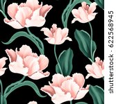 seamless tulip vintage pattern... | Shutterstock . vector #622568945