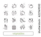vegetables thin line icons.... | Shutterstock .eps vector #622569032