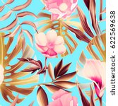 seamless tropical flower  plant ... | Shutterstock . vector #622569638