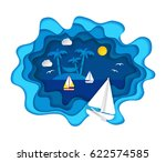 paper art carving with three... | Shutterstock .eps vector #622574585