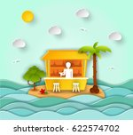 paper art carving with cocktail ... | Shutterstock .eps vector #622574702