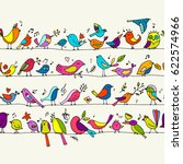 birds family  seamless pattern... | Shutterstock .eps vector #622574966