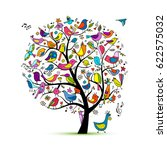 tree with birds  sketch for... | Shutterstock .eps vector #622575032