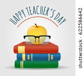 illustration with books. apple... | Shutterstock .eps vector #622586642