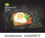 fried eggs with bacon  salad on ... | Shutterstock .eps vector #622604072