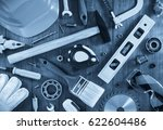 work tools and instruments on...   Shutterstock . vector #622604486