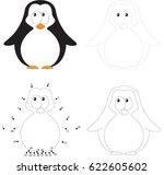 cartoon baby penguin. dot to... | Shutterstock .eps vector #622605602