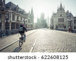 historic houses in ghent ... | Shutterstock . vector #622608125