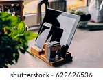 bamboo wooden stand with smart... | Shutterstock . vector #622626536