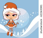 Santa Claus Girl Holding Candy...