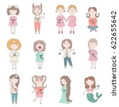 zodiac set. vector illustration ... | Shutterstock .eps vector #622655642