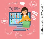 electronic commerce with online ... | Shutterstock .eps vector #622663622