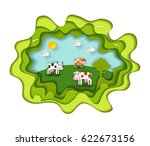 paper art carving with three... | Shutterstock .eps vector #622673156