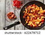 tortilla de patatas. cooking... | Shutterstock . vector #622678712