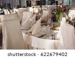 banquet table  restaurant table | Shutterstock . vector #622679402