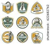 colored vintage biking labels...   Shutterstock .eps vector #622682762