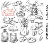 bread set. pen sketch converted ... | Shutterstock .eps vector #622685222