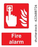 red fire equipment sign... | Shutterstock .eps vector #622688726