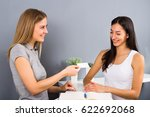 female receptionist of the... | Shutterstock . vector #622692068