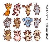 cartoon animals set vector... | Shutterstock .eps vector #622701542
