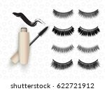 false eyelashes set  mascara... | Shutterstock .eps vector #622721912