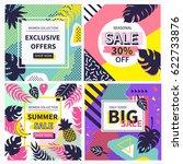social media sales banners set. ... | Shutterstock .eps vector #622733876