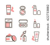 make up routine icons set in... | Shutterstock .eps vector #622733882
