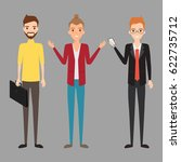 three business man character in ... | Shutterstock .eps vector #622735712
