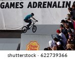 Small photo of MOSCOW, RUSSIA - JULY 8, 2012: Unidentified athlete in BMX competitions during Adrenalin Games. Adrenalin Games is the major international event in the field of extreme sports