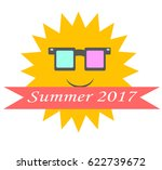 smiling sun in glasses with... | Shutterstock .eps vector #622739672