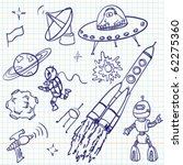 space  ufo and aliens  doodles... | Shutterstock .eps vector #62275360