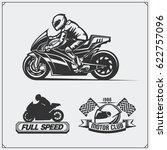 set of racing motorcycle... | Shutterstock .eps vector #622757096
