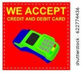 sign we accept debit and credit ... | Shutterstock .eps vector #622774436