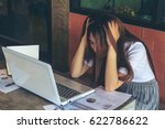 asia girl use laptop emotion... | Shutterstock . vector #622786622