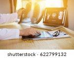 male medicine doctor explains... | Shutterstock . vector #622799132