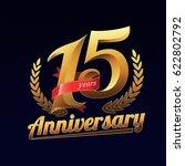 15 years anniversary golden... | Shutterstock .eps vector #622802792