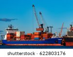 blue container ship loading in