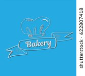 hand drawn bakery text with... | Shutterstock .eps vector #622807418