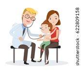 doctor examining listens to... | Shutterstock .eps vector #622809158