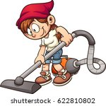 girl using a vacuum cleaner.... | Shutterstock .eps vector #622810802