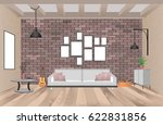 living room interior with... | Shutterstock .eps vector #622831856