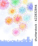 fireworks and town scape | Shutterstock .eps vector #622832846