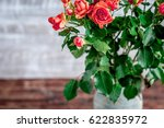 bunch of fresh rose flowers on... | Shutterstock . vector #622835972