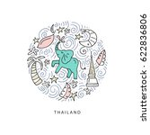 circle illustration of thailand.... | Shutterstock .eps vector #622836806