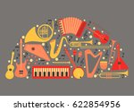 music instruments   vector... | Shutterstock .eps vector #622854956