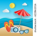 illustration concept of summer... | Shutterstock .eps vector #622861016
